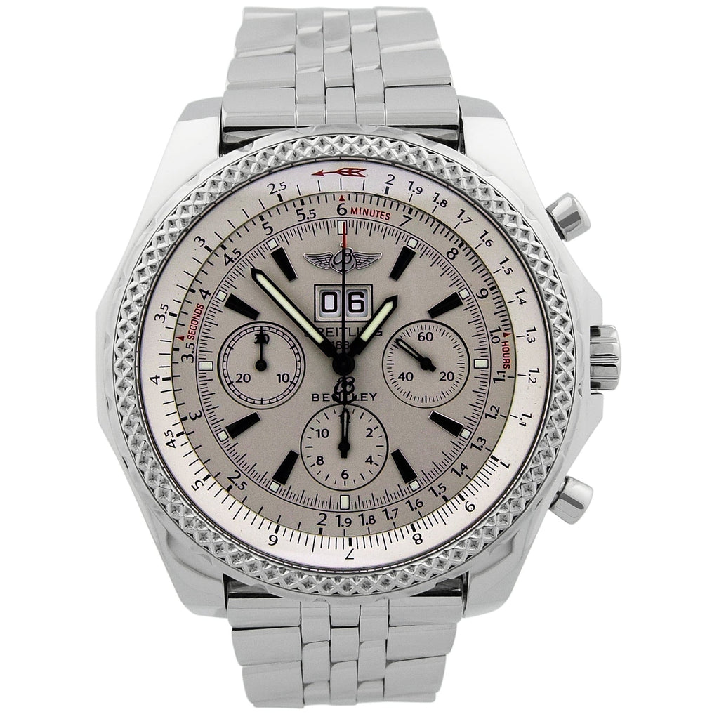 Breitling Mens Bentley 6.75 Stainless Steel 48mm Silver Dial Watch - Happy Jewelers Fine Jewelry Lifetime Warranty