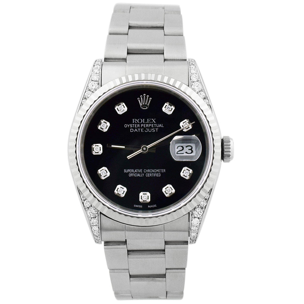Rolex Unisex Datejust Stainless Steel 36mm Black Diamond Dial Watch - Happy Jewelers Fine Jewelry Lifetime Warranty