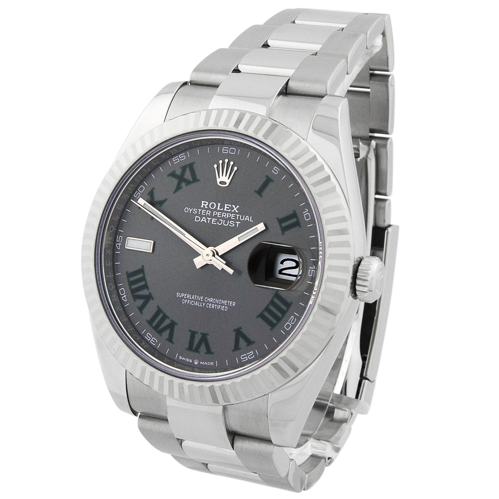 Rolex Men's Datejust Stainless Steel 41mm Grey Roman Dial Watch - Happy Jewelers
