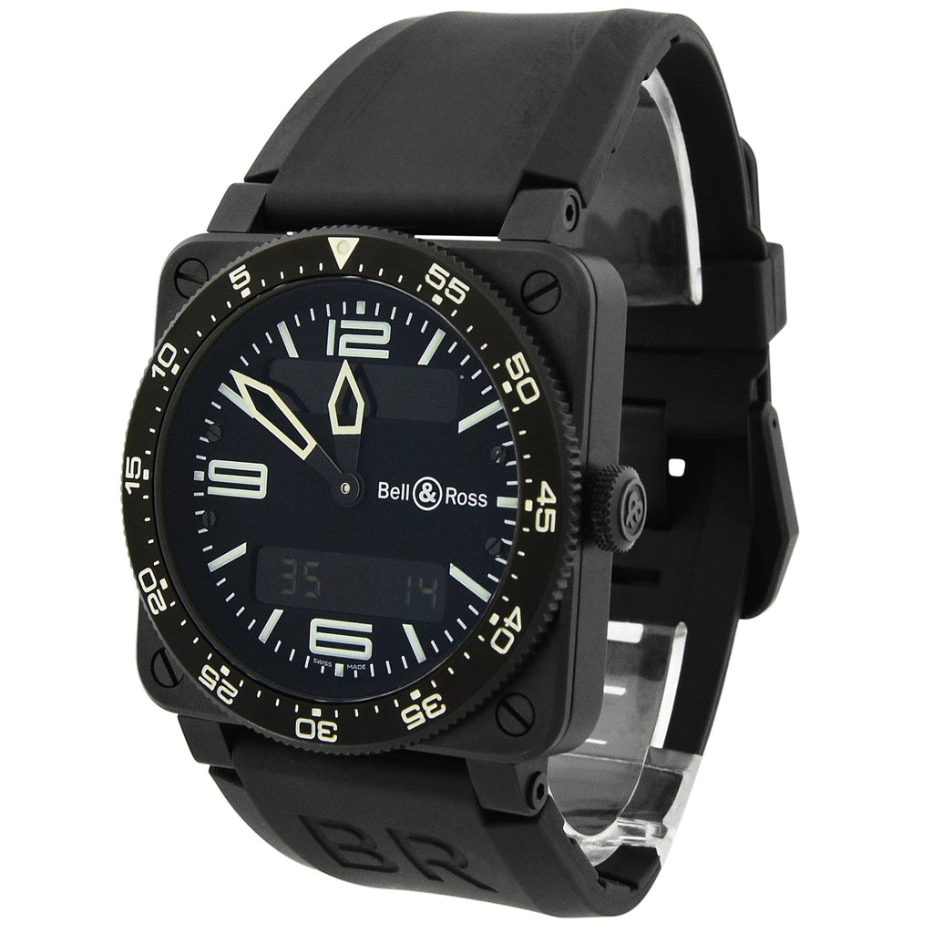 Bell & Ross Mens Aviation Stainless Steel & Plated 44mm Black Dial Watch - Happy Jewelers