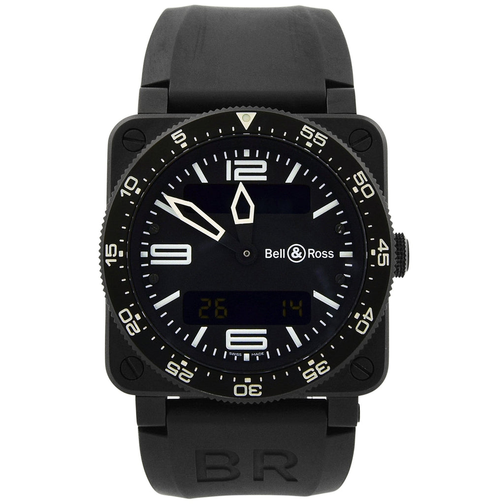 Bell & Ross Mens Aviation Stainless Steel & Plated 44mm Black Dial Watch - Happy Jewelers Fine Jewelry Lifetime Warranty