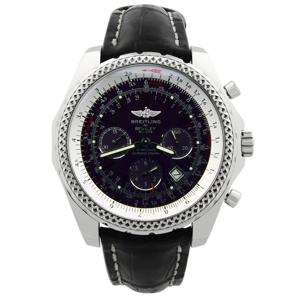 Breitling Mens Bentley Stainless Steel 49mm Purple Dial Watch - Happy Jewelers