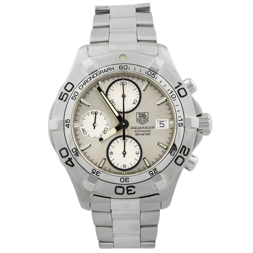 Tag Heuer Mens Aquaracer Stainless Steel 41mm Silver Dial Watch - Happy Jewelers Fine Jewelry Lifetime Warranty