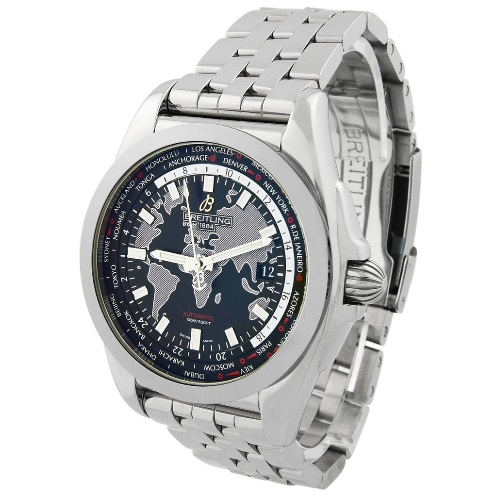 Breitling Mens Galactic Unitime Stainless Steel 44mm Black & Grey Dial Watch - Happy Jewelers