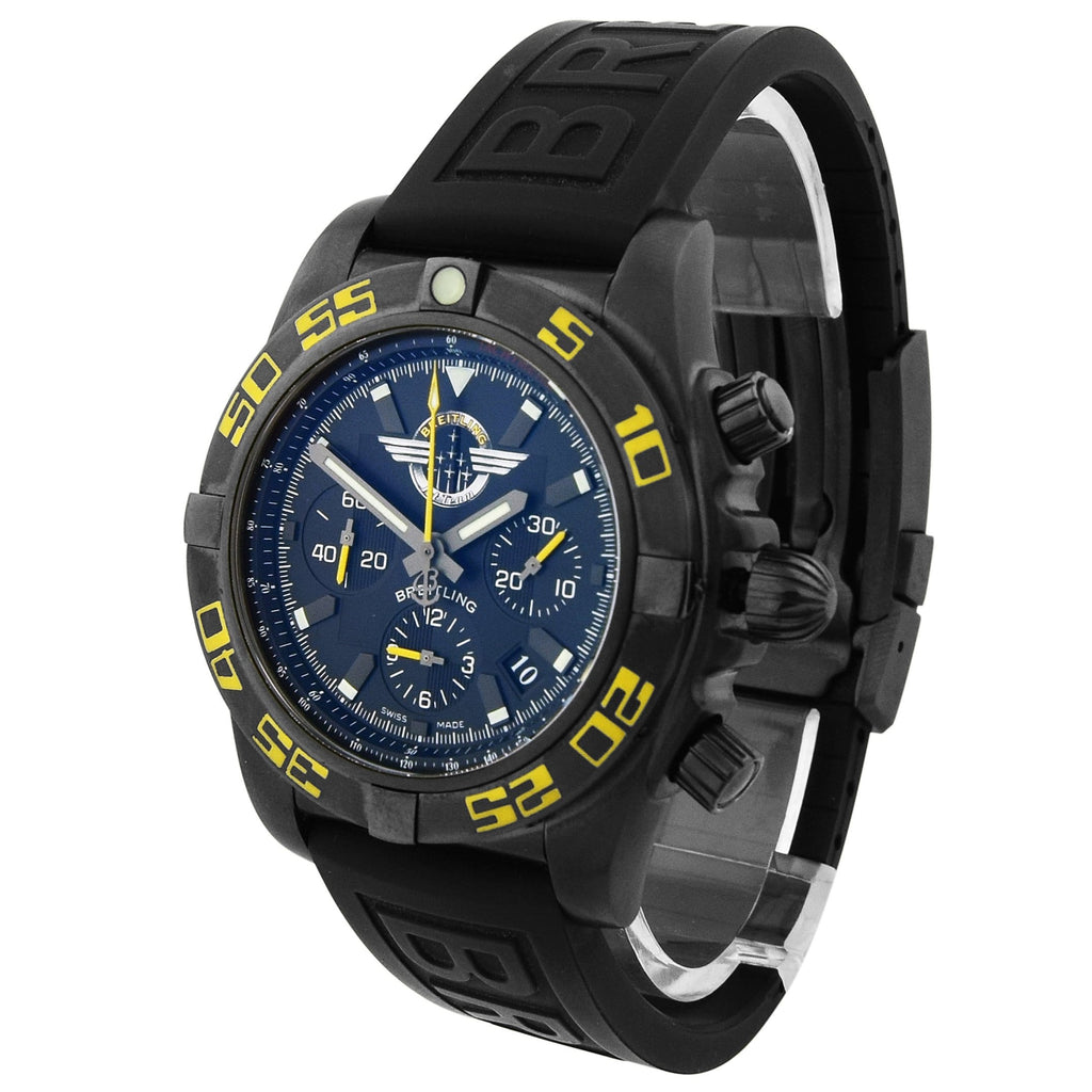 Breitling Mens Chronomat Jet Team Stainless Steel & PVD 44mm Black Stick Dial Watch Reference #: MB0110 - Happy Jewelers Fine Jewelry Lifetime Warranty