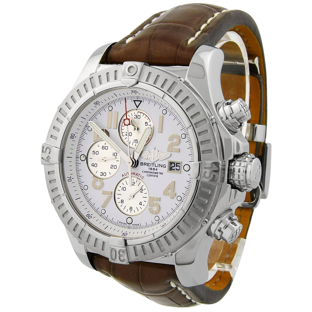 Breitling Mens Super Avenger Stainless Steel 48mm White Arabic Dial Watch - Happy Jewelers