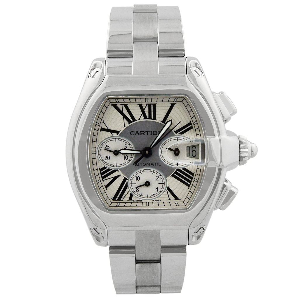 Cartier Mens Roadster XL Stainless Steel 43x49mm Silver Roman Dial Watch - Happy Jewelers Fine Jewelry Lifetime Warranty