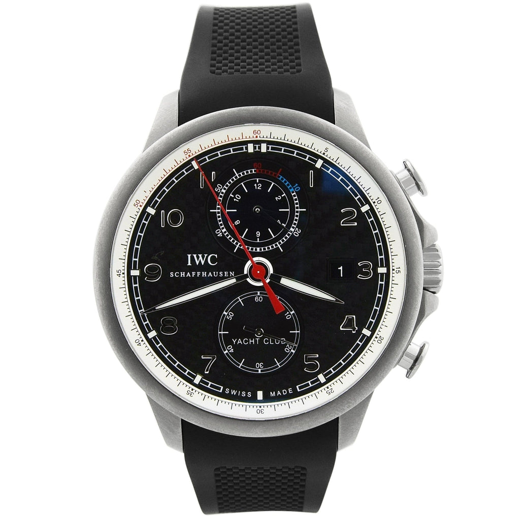 IWC Mens Portuguese Yacht Club Titanium 45mm Carbon Dial Watch - Happy Jewelers Fine Jewelry Lifetime Warranty