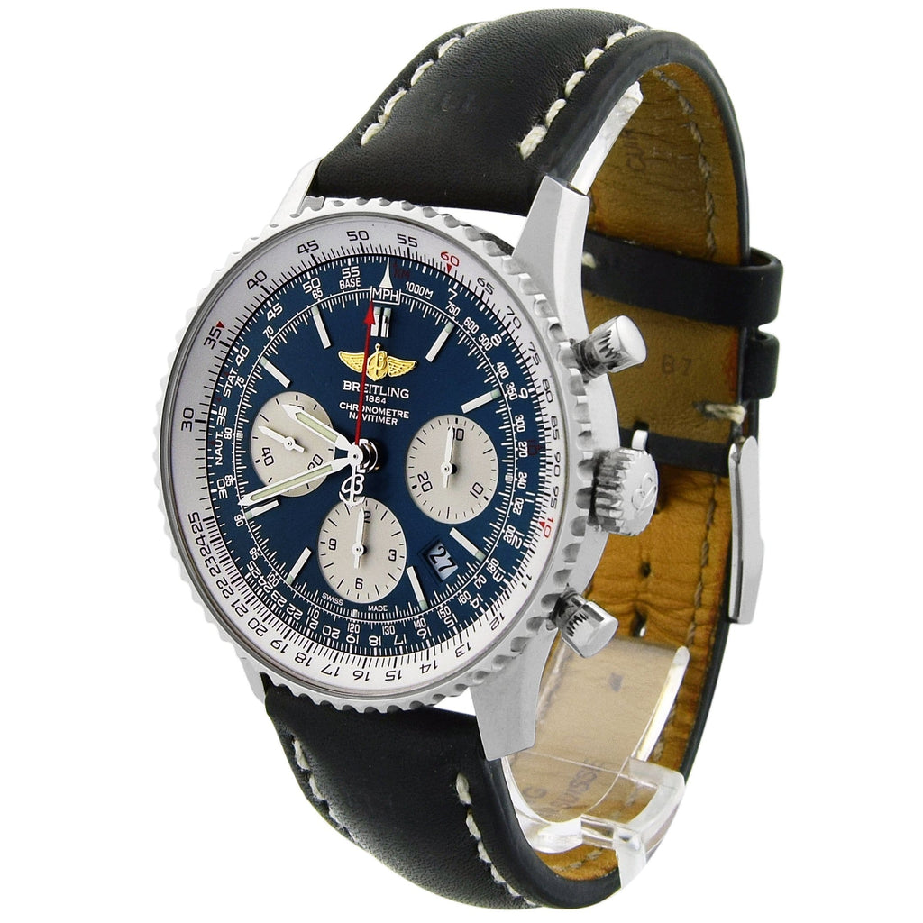 Breitling Mens Navitimer 01 Stainless Steel 43mm Blue Dial Watch - Happy Jewelers