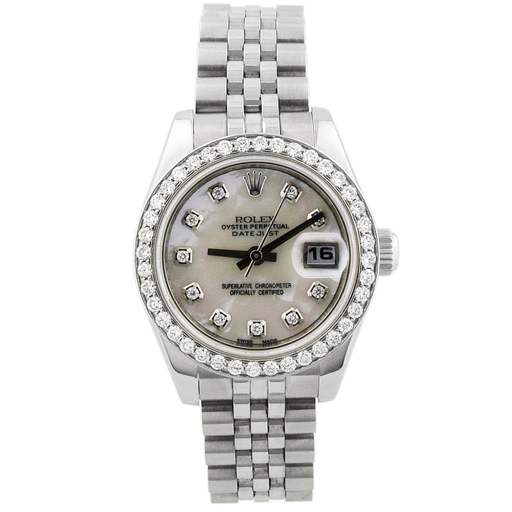 Rolex Lady Datejust Stainless Steel 26mm MOP Diamond Dial Watch Reference #: 179160 - Happy Jewelers Fine Jewelry Lifetime Warranty