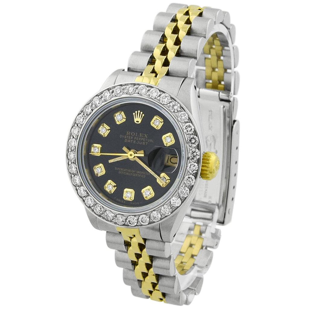 Rolex Lady Datejust 18KT Yellow Gold & Steel 26mm Black Diamond Dial Watch Reference #: 69173 - Happy Jewelers Fine Jewelry Lifetime Warranty