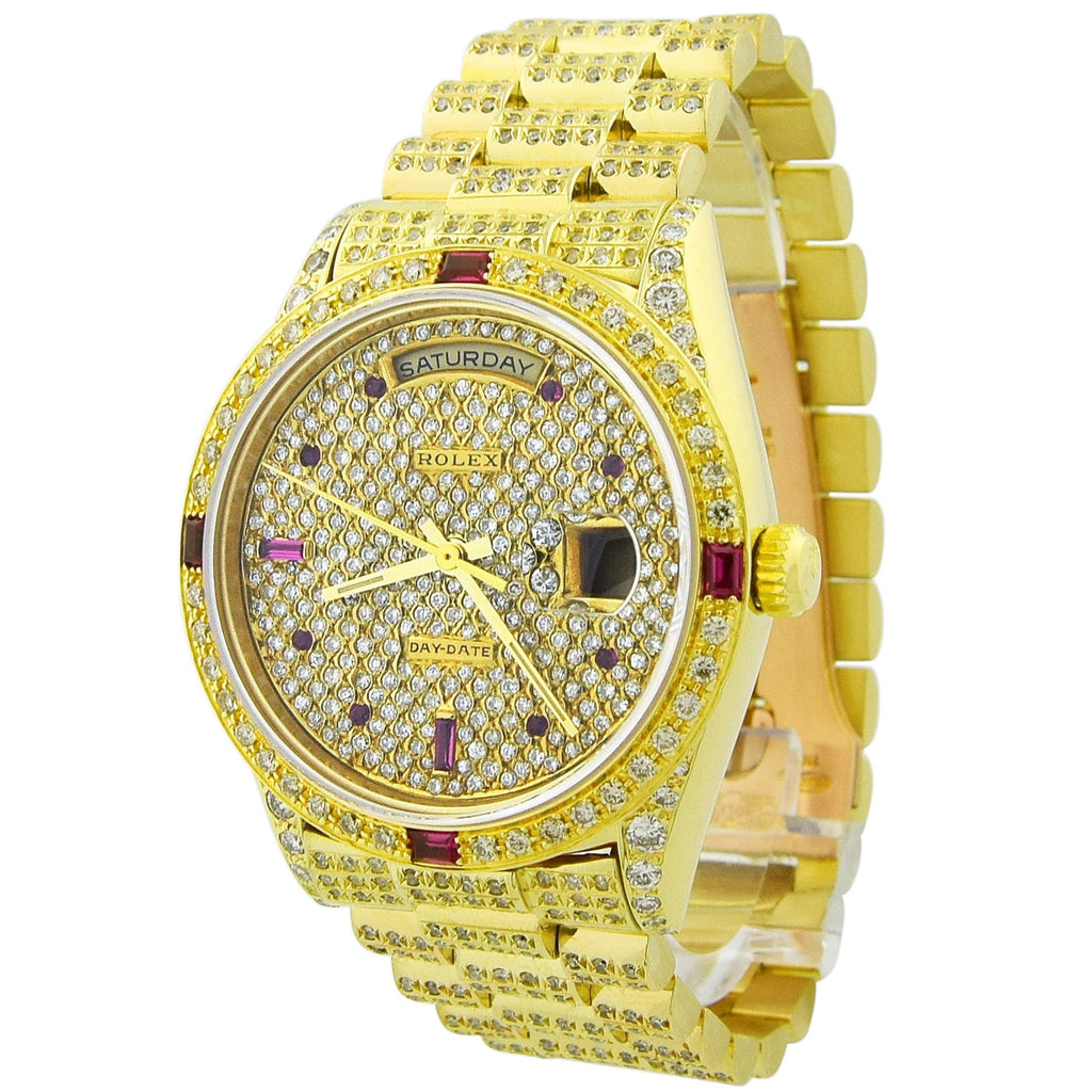 Rolex Unisex Day-Date 18KT Yellow Gold 36mm Diamond & Ruby Dial All Custom Diamonds Watch - Happy Jewelers Fine Jewelry Lifetime Warranty