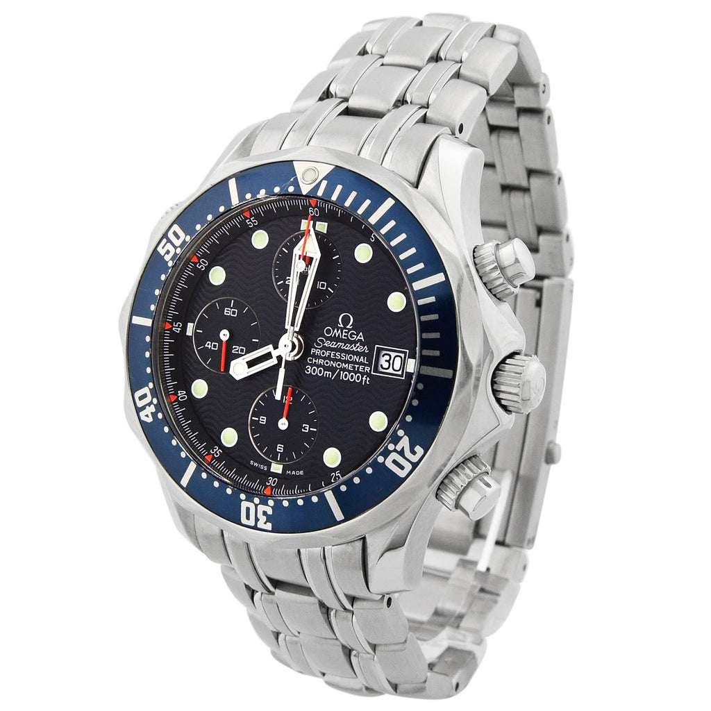 Omega Mens Seamaster Stainless Steel 41.5mm Blue Dial Watch - Happy Jewelers Fine Jewelry Lifetime Warranty