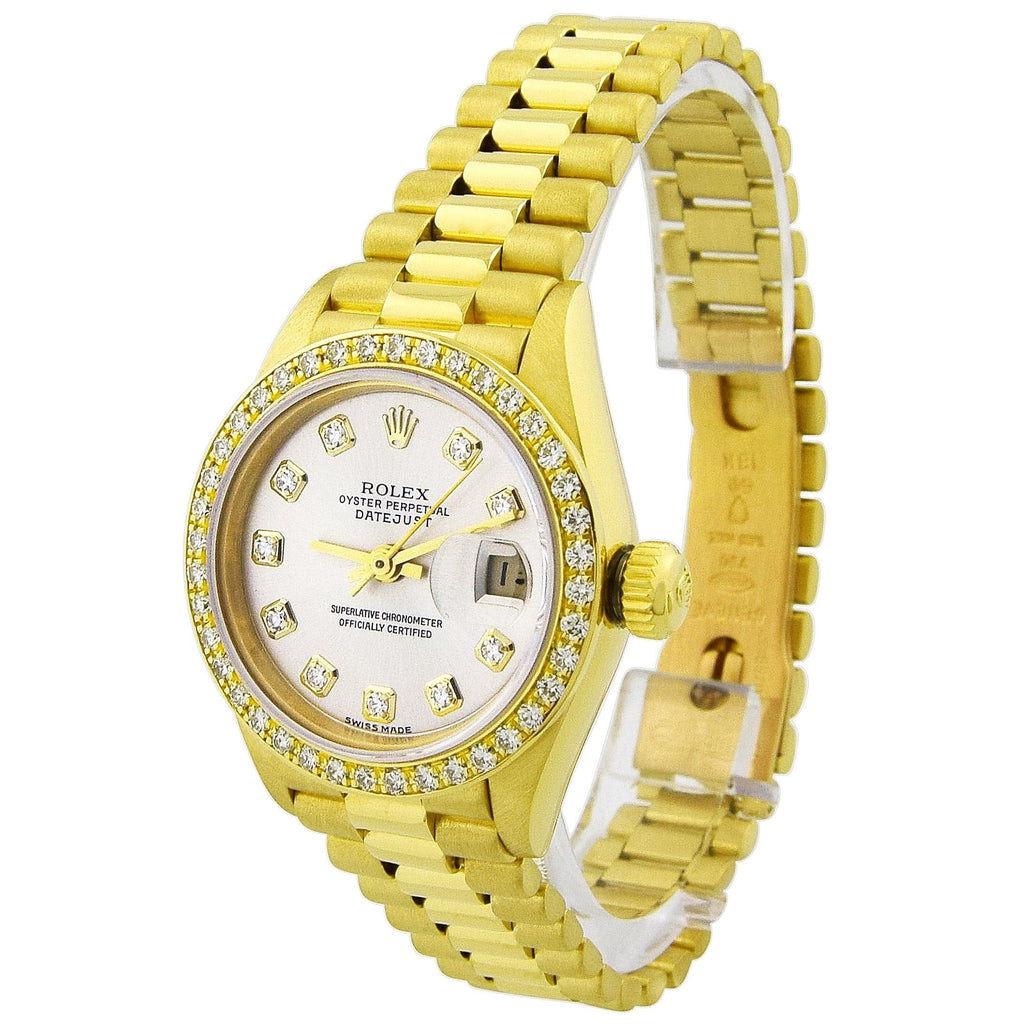 Rolex Lady Datejust 18KT Yellow Gold 26mm Silver Diamond Dial Custom Diamonds Watch - Happy Jewelers Fine Jewelry Lifetime Warranty