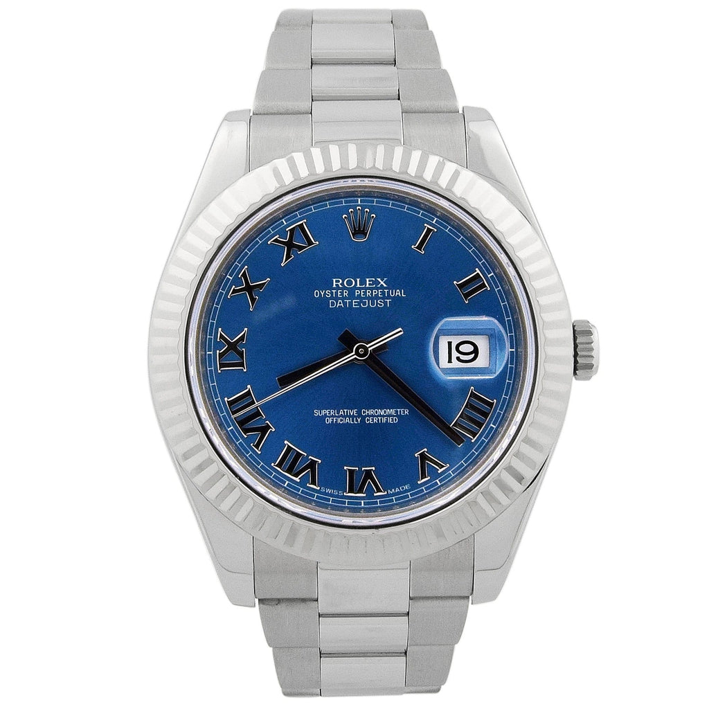 Rolex Mens Datejust II Stainless Steel 41mm Blue Roman Dial Watch - Happy Jewelers