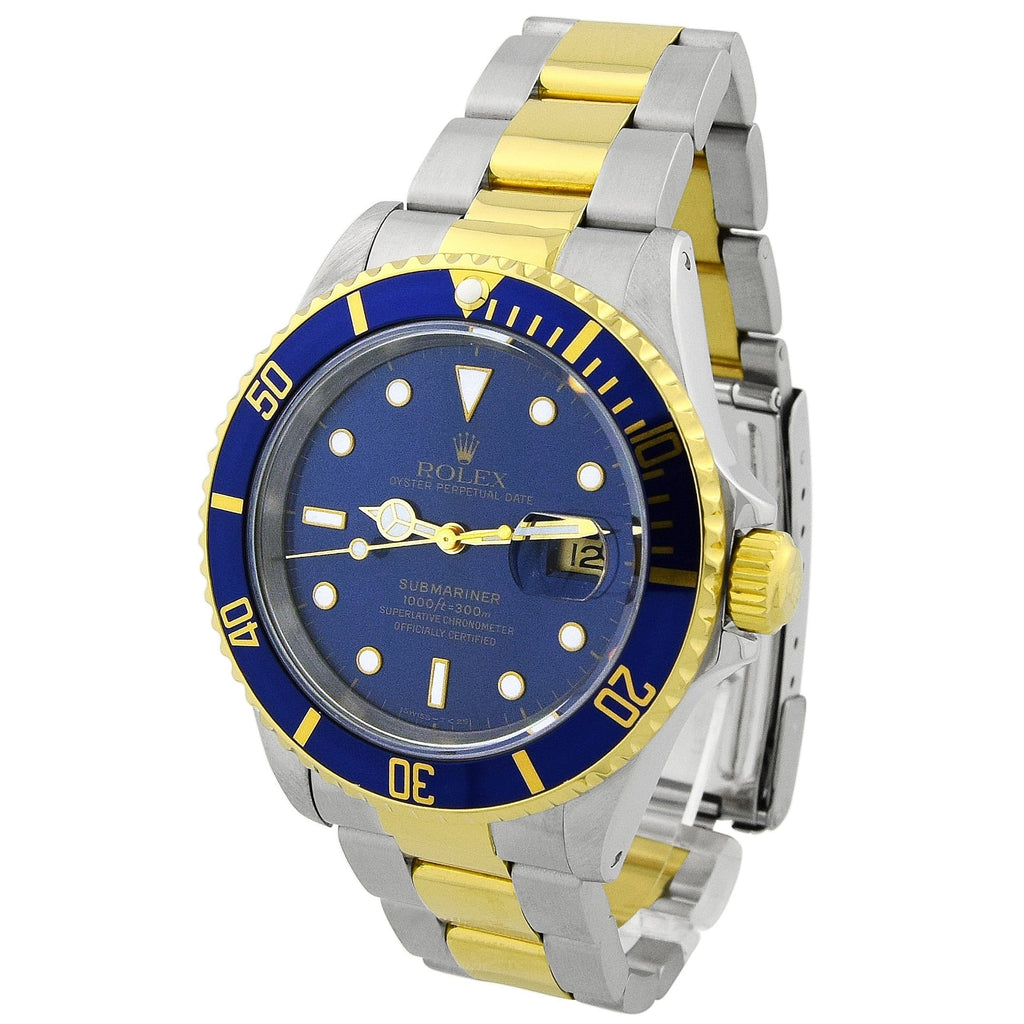 Rolex Mens Submariner 18KT Yellow Gold & Steel 40mm Blue Luminous Dial Watch Reference #: 16613 - Happy Jewelers Fine Jewelry Lifetime Warranty