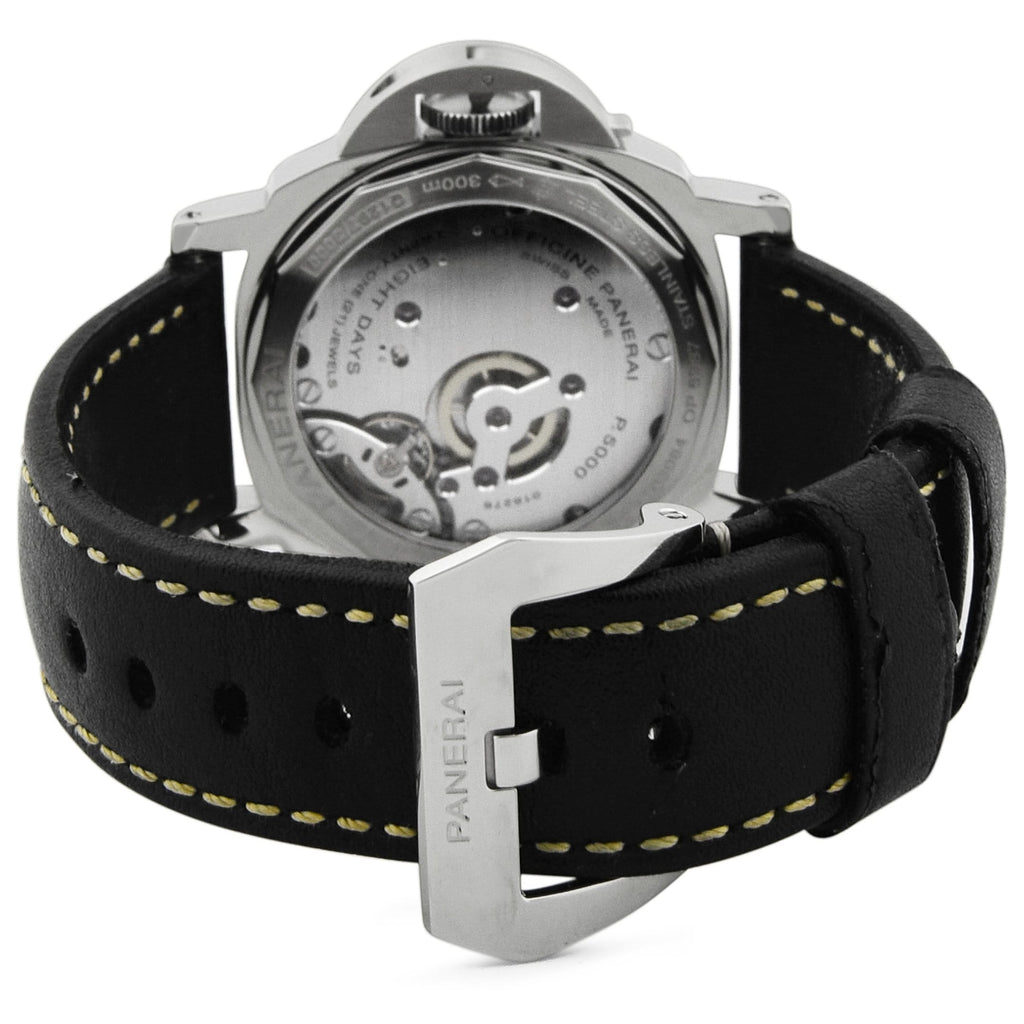 Panerai Mens Luminor Marina Stainless Steel 44mm Black Luminous Dial Watch - Happy Jewelers Fine Jewelry Lifetime Warranty