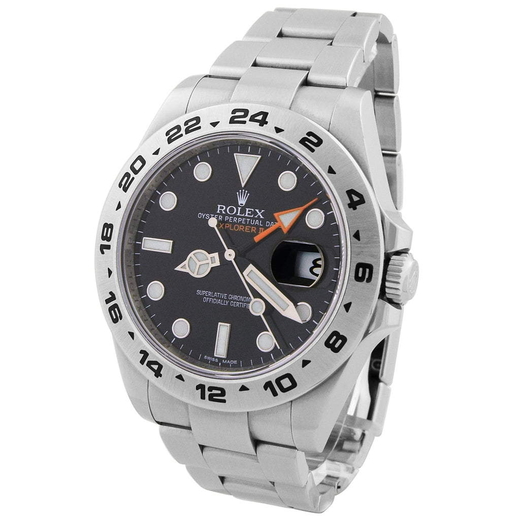 Rolex Mens Explorer II Stainless Steel 42mm Black Luminous Dial Watch - Happy Jewelers Fine Jewelry Lifetime Warranty