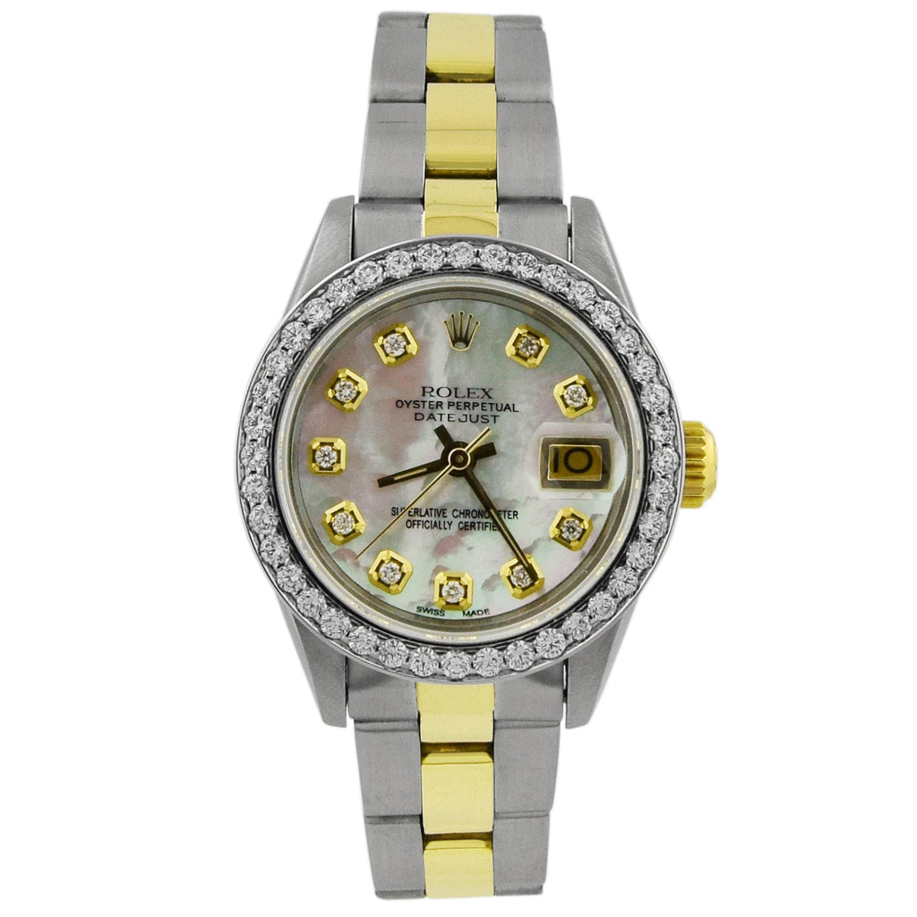 Rolex Lady Datejust 18KT Yellow Gold & Steel 26mm MOP Diamond Dial Custom Diamonds Watch - Happy Jewelers Fine Jewelry Lifetime Warranty
