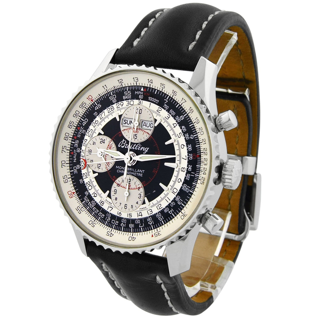 Breitling Mens Montbrilliant Datora Stainless Steel 43mm Black Dial Watch - Happy Jewelers