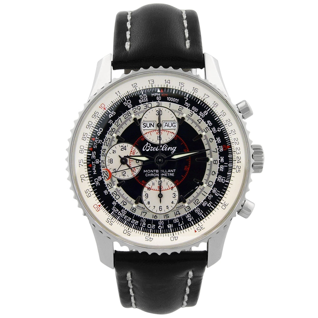 Breitling Mens Montbrilliant Datora Stainless Steel 43mm Black Dial Watch - Happy Jewelers Fine Jewelry Lifetime Warranty