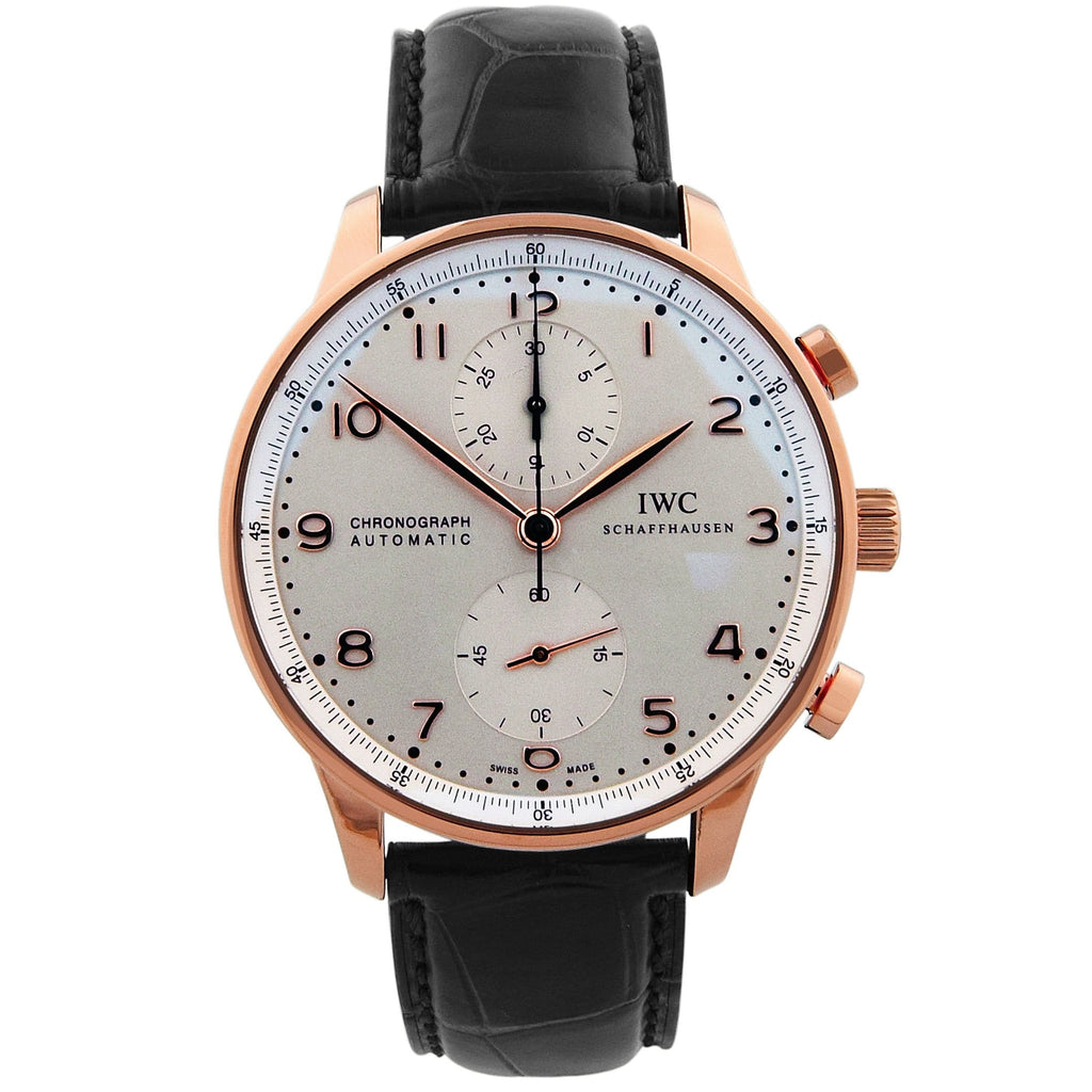 IWC Mens Portuguese 18KT Rose Gold 41mm Silver Arabic Dial Watch - Happy Jewelers Fine Jewelry Lifetime Warranty