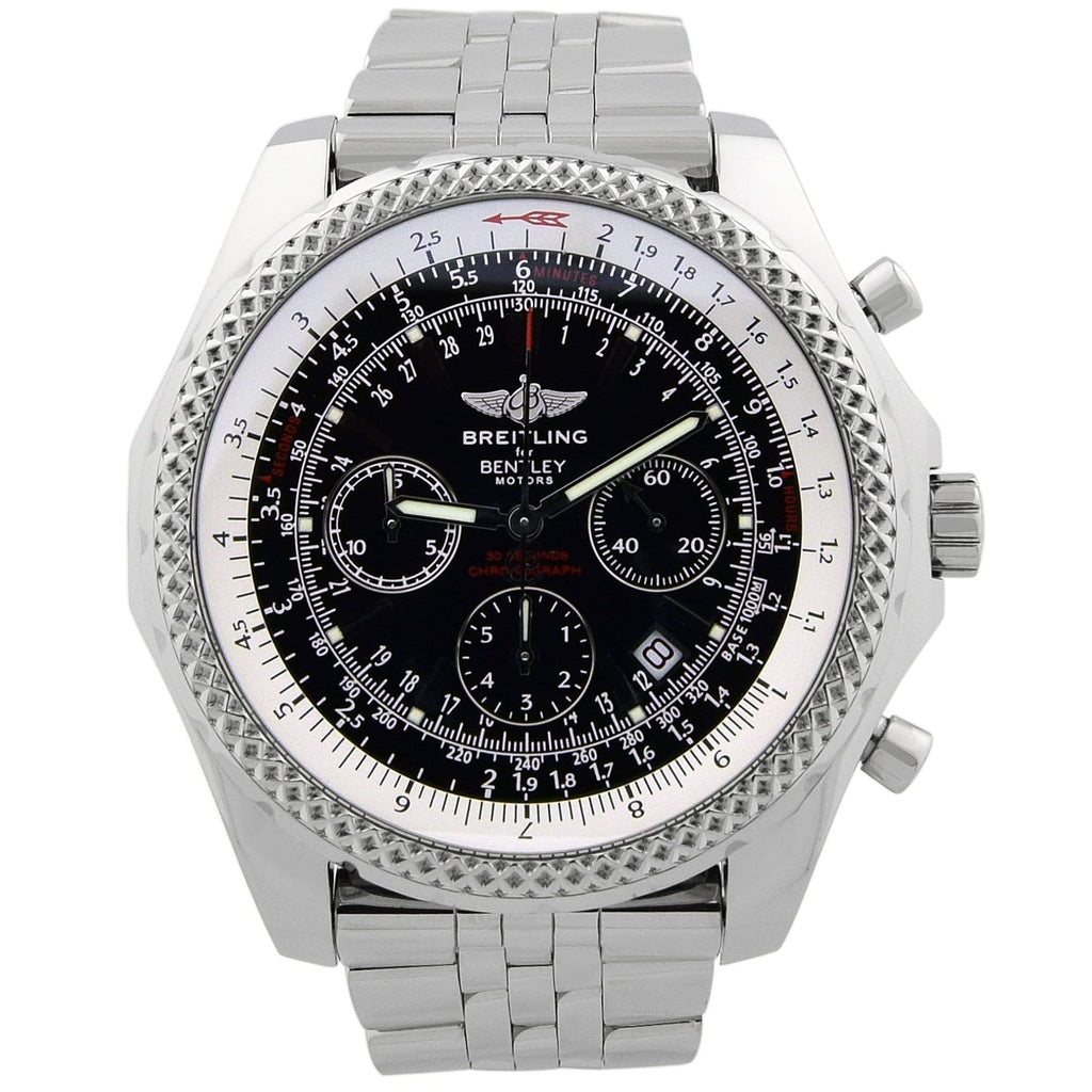 Breitling Mens Bentley Motors Stainless Steel 49mm Black Dial Watch - Happy Jewelers