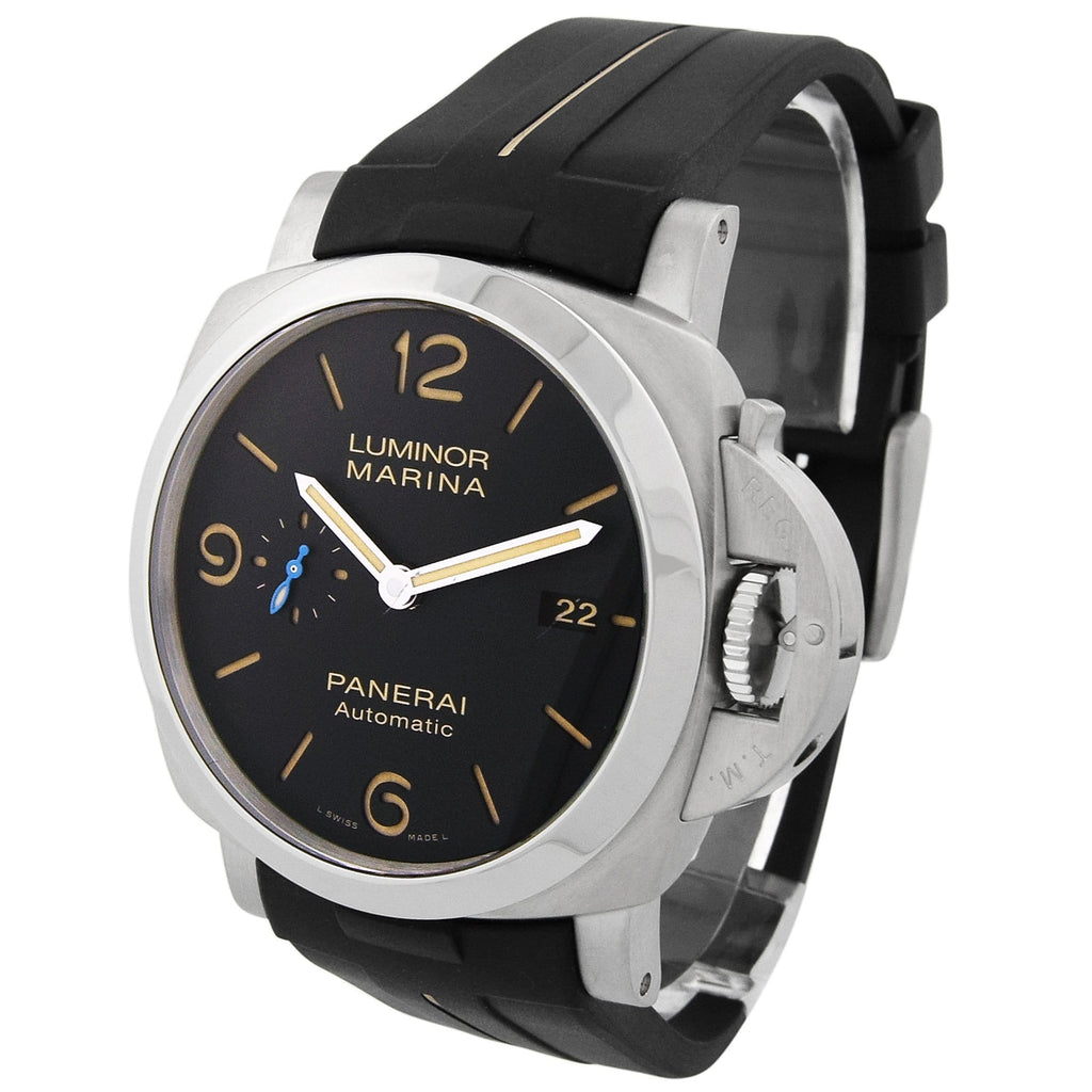 Panerai Mens Luminor Marina 1950 Stainless Steel 44mm Black Dial Watch - Happy Jewelers Fine Jewelry Lifetime Warranty