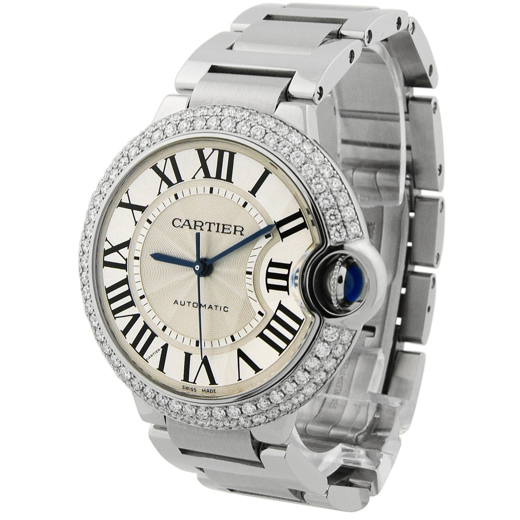 Cartier Lady Ballon Bleu Stainless Steel 36mm Silver Roman Dial Custom Diamonds Watch - Happy Jewelers Fine Jewelry Lifetime Warranty