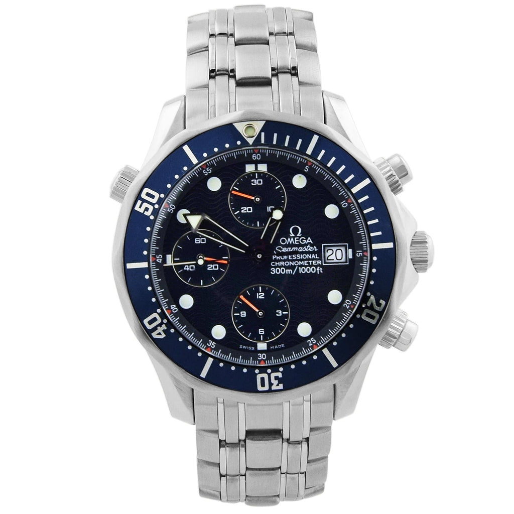 Omega Mens Seamaster Stainless Steel 41.5mm Blue Wave Dial - Happy Jewelers Fine Jewelry Lifetime Warranty