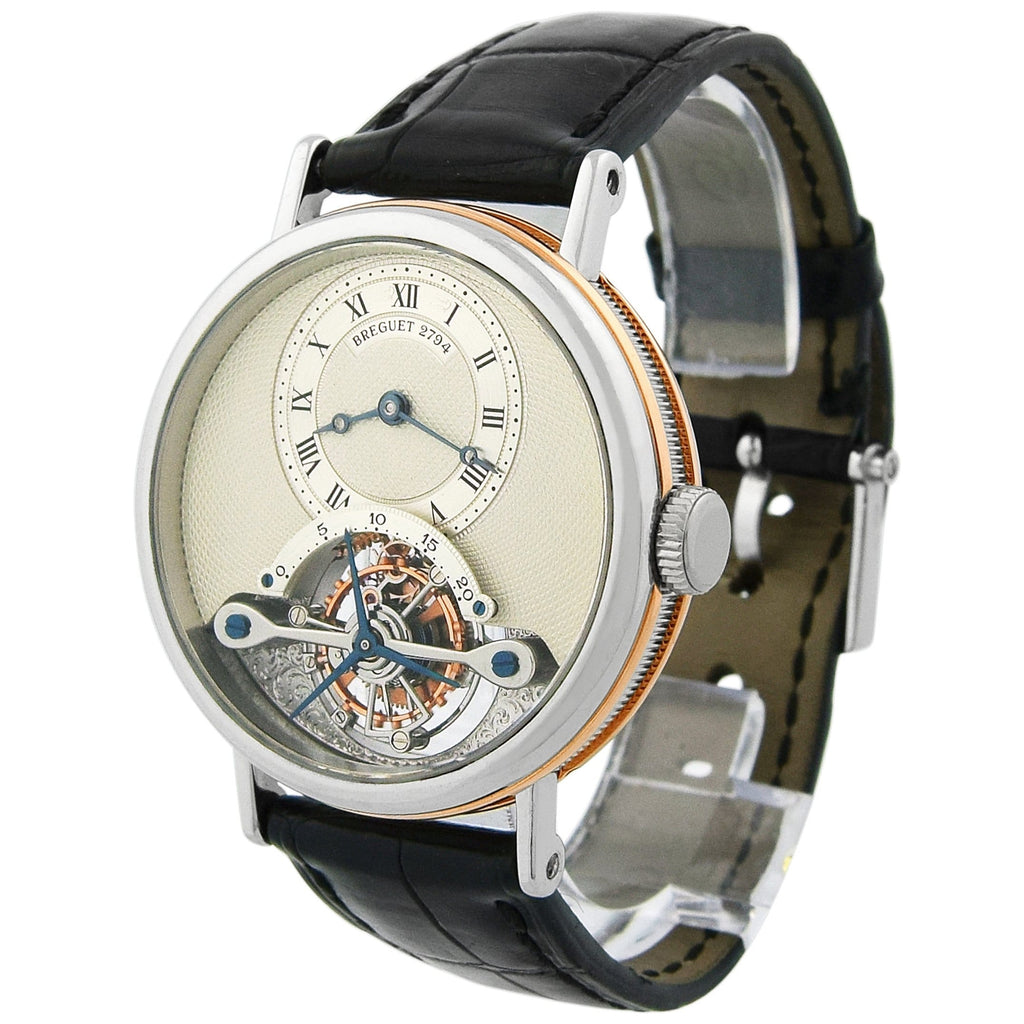Breguet Mens Classique Complications Tourbillon Platinum & 18KT Rose Gold 36mm Silver Dial Watch - Happy Jewelers Fine Jewelry Lifetime Warranty