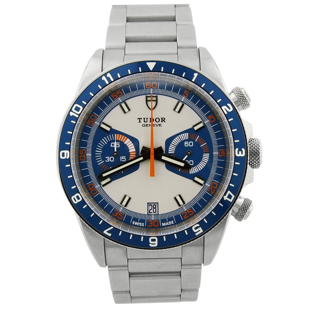 Tudor Mens Heritage Stainless Steel 42mm Blue & Silver Dial Watch - Happy Jewelers Fine Jewelry Lifetime Warranty