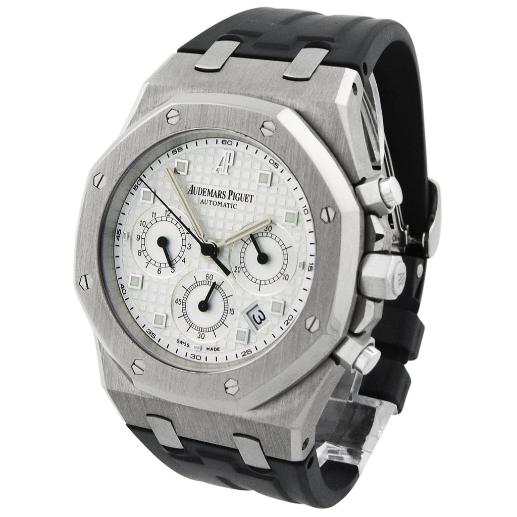 Audemars Piguet Mens Royal Oak 18KT White Gold 39mm White Dial Watch - Happy Jewelers Fine Jewelry Lifetime Warranty