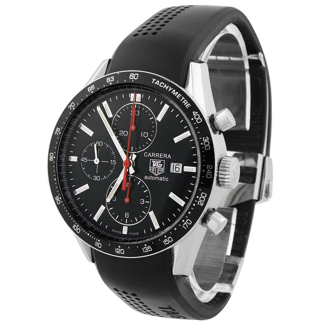 Tag Heuer Mens Carrera Stainless Steel 41mm Black Dial Watch - Happy Jewelers Fine Jewelry Lifetime Warranty