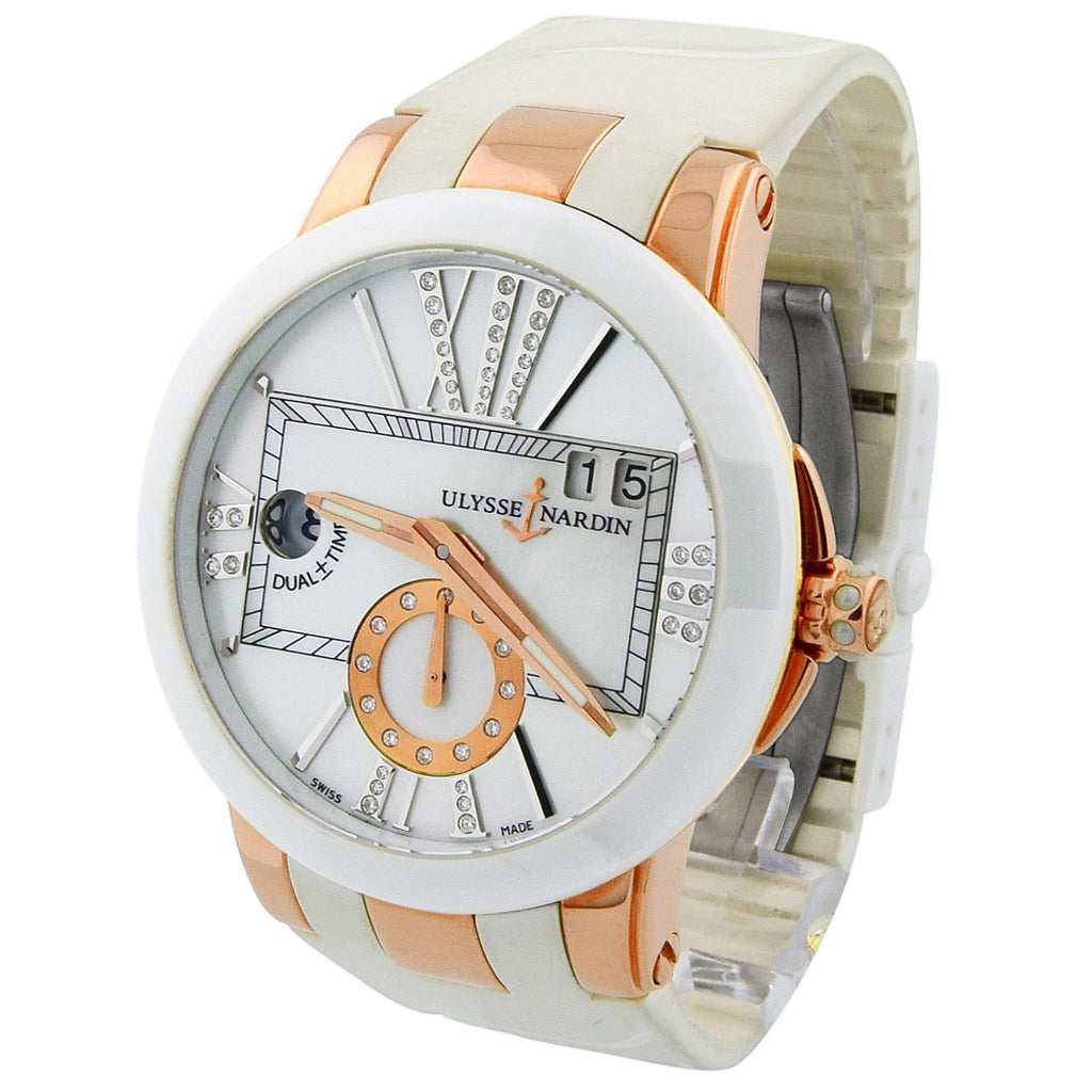 Ulysse Nardin Lady Executive 18KT Rose Gold & Ceramic 40mm MOP Dial Watch - Happy Jewelers Fine Jewelry Lifetime Warranty