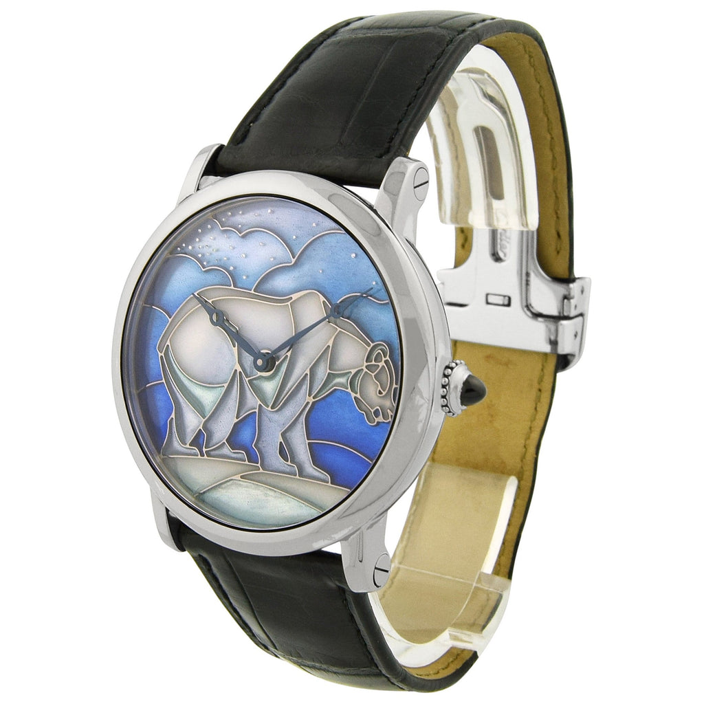Cartier Mens Rotonde Polar Bear 18KT White Gold 43mm Enamel Plique-a-jour-Paillonne Blue Dial Watch - Happy Jewelers Fine Jewelry Lifetime Warranty