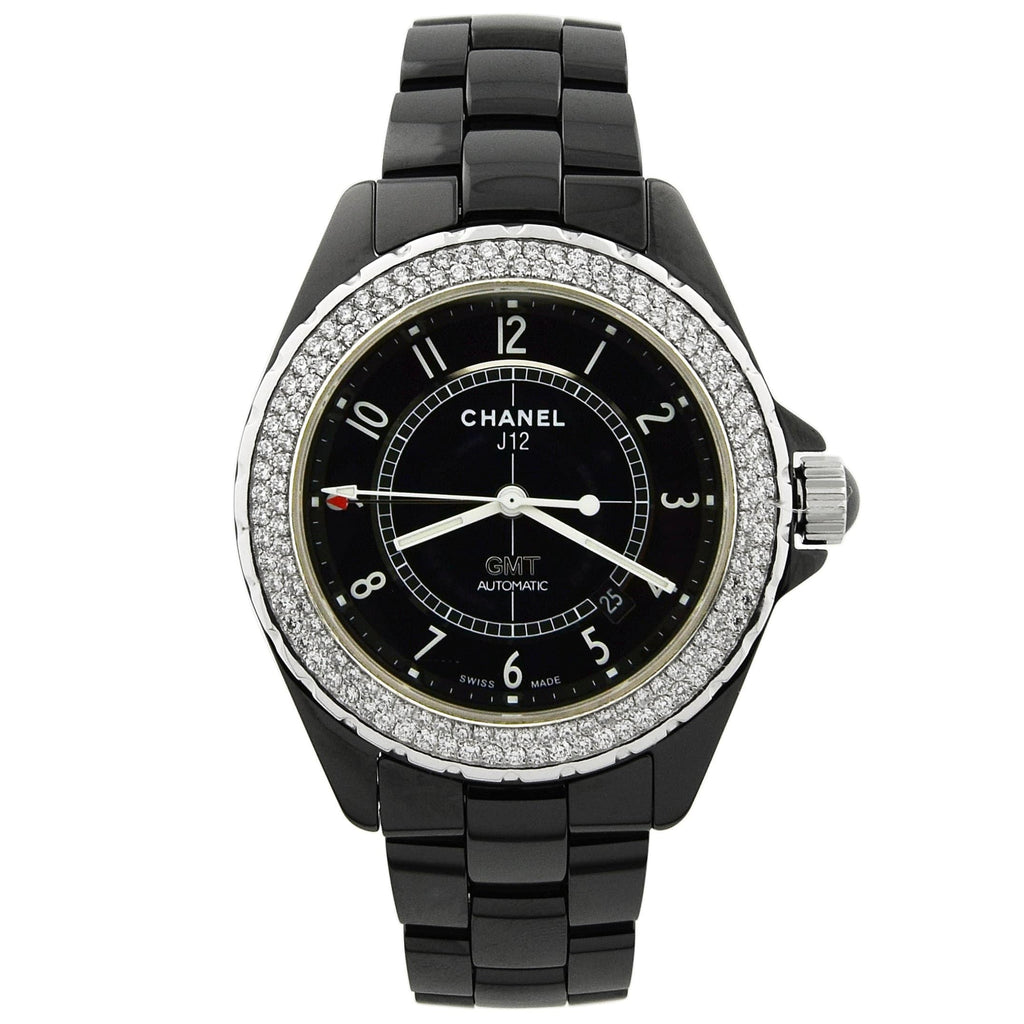 Chanel Mens J12 Ceramic & Steel 41mm Black Arabic Dial Custom Diamonds - Happy Jewelers Fine Jewelry Lifetime Warranty
