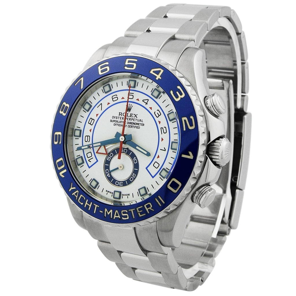 Rolex Mens Yacht-Master II Stainless Steel 44mm White Dial Watch - Happy Jewelers