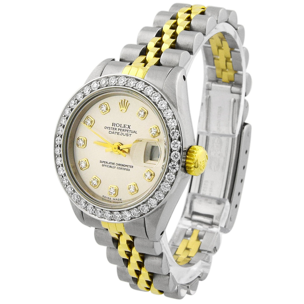 Rolex Lady Datejust 18KT Yellow Gold & Steel 26mm Silver Diamond Dial Watch Reference #: 69173 - Happy Jewelers Fine Jewelry Lifetime Warranty