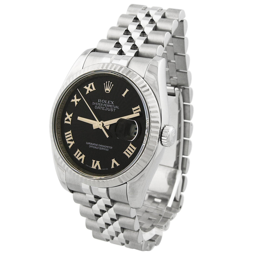 Rolex Unisex Datejust Stainless Steel 36mm Black Roman Dial Watch - Happy Jewelers