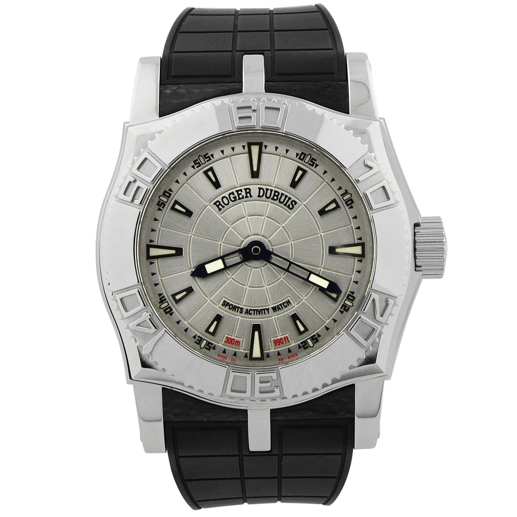 Roger Dubuis Mens Easy Diver Stainless Steel 46mm Silver Dial Watch - Happy Jewelers Fine Jewelry Lifetime Warranty