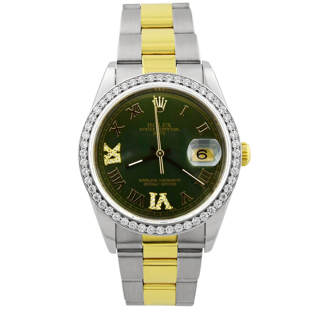 Rolex Unisex Date 18KT Yellow Gold & Steel 34mm Green Roman Dial Custom Diamonds Watch - Happy Jewelers Fine Jewelry Lifetime Warranty