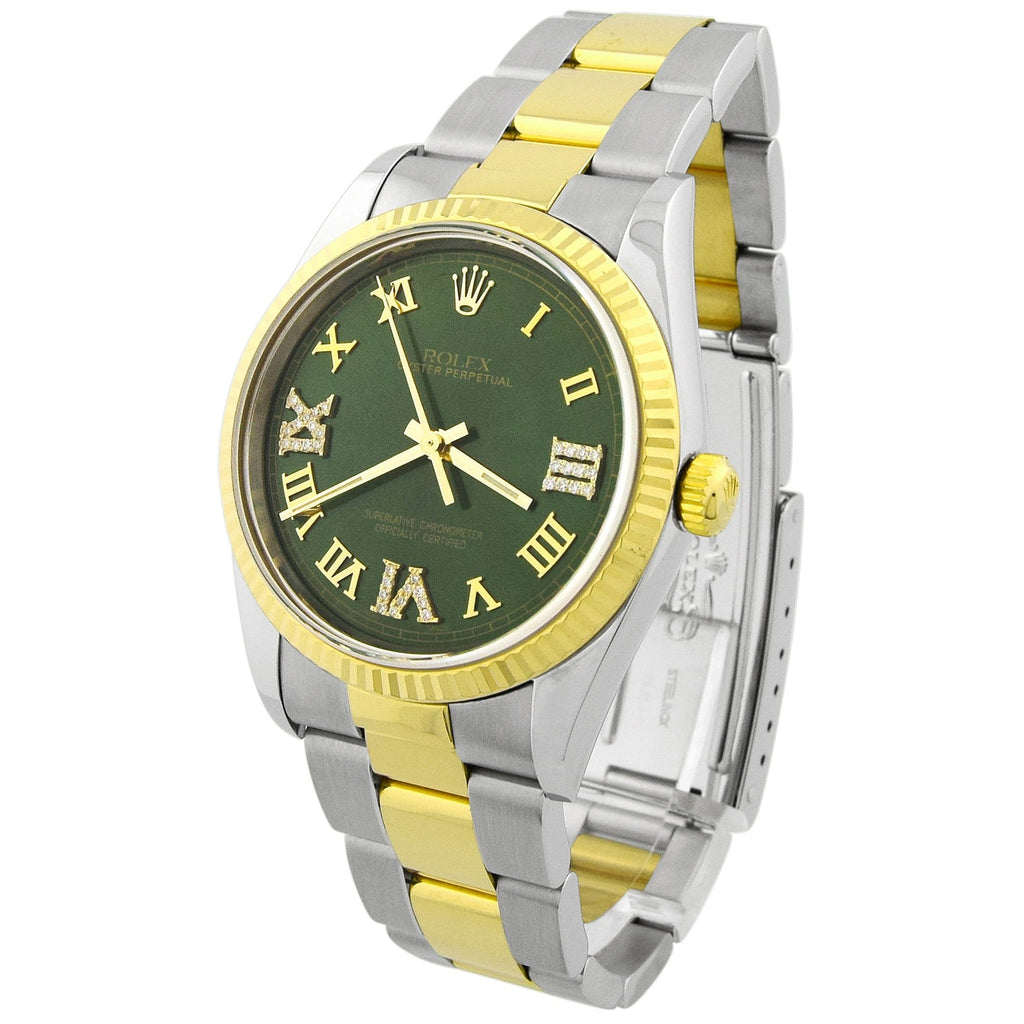 Rolex Unisex Oyster Perpetual 18KT Yellow Gold & Steel 34mm Green Roman Dial Watch - Happy Jewelers Fine Jewelry Lifetime Warranty