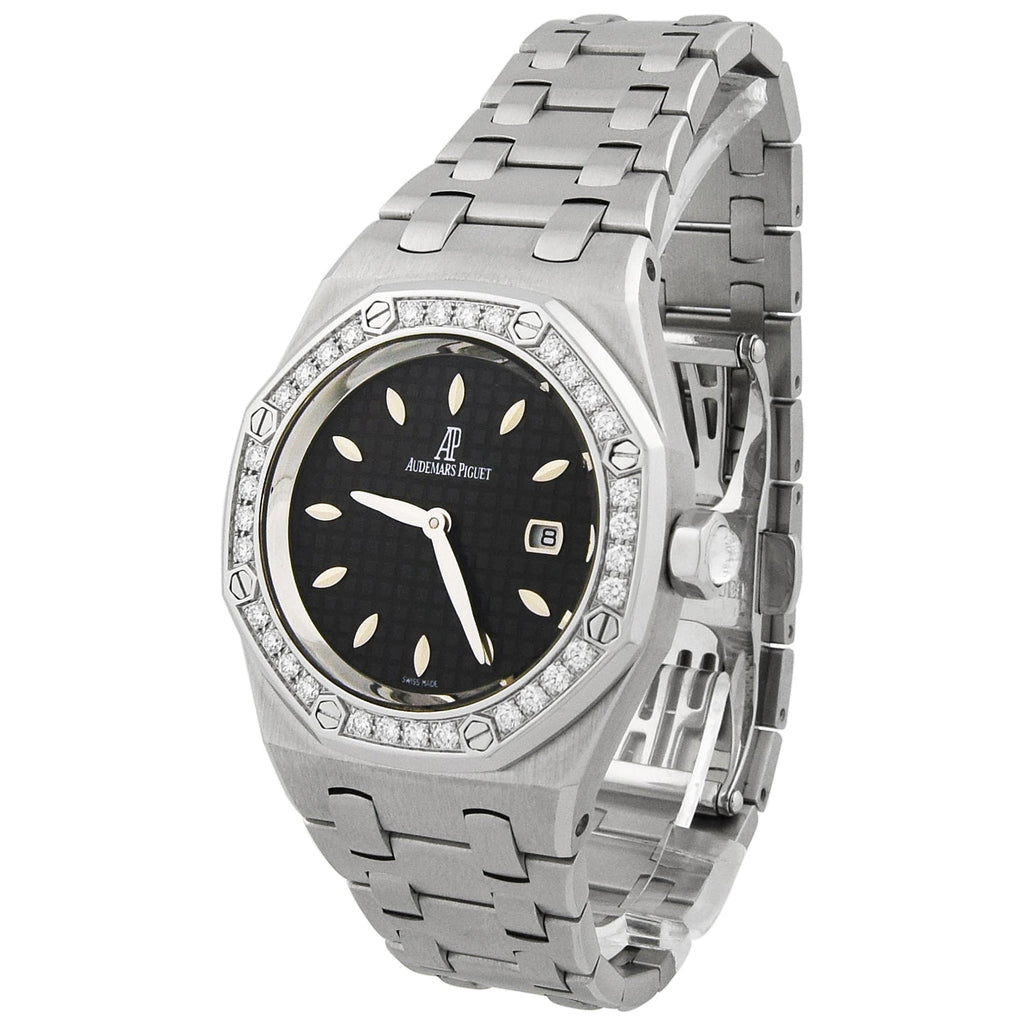 Audemars Piguet Lady Royal Oak Stainless Steel 33mm Black Dial Watch - Happy Jewelers
