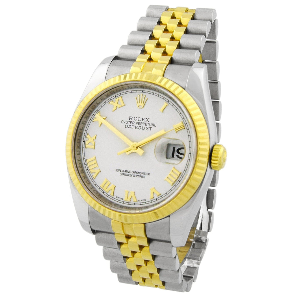Rolex Unisex Datejust 18KT Yellow Gold & Steel 36mm White Roman Dial Watch - Happy Jewelers Fine Jewelry Lifetime Warranty