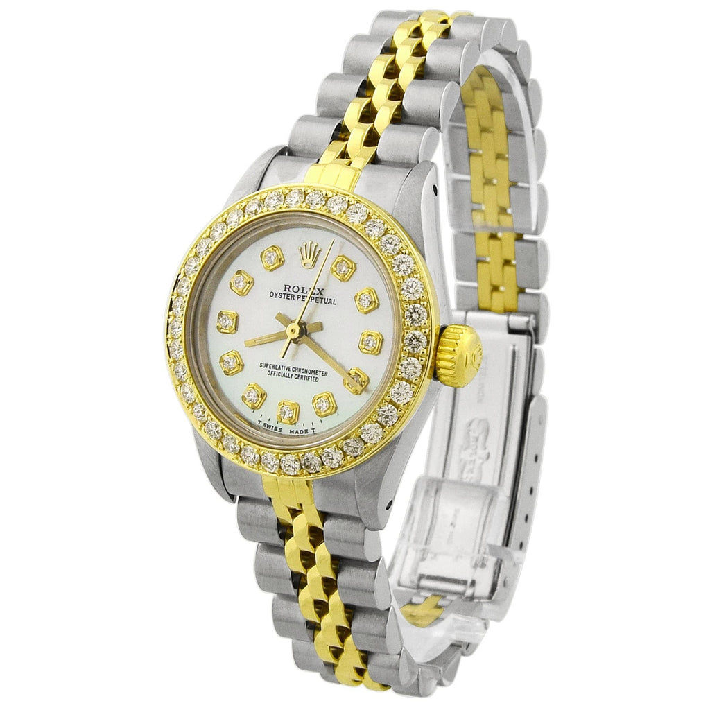 Rolex Lady Oyster Perpetual 18KT Yellow Gold & Steel 24mm MOP Diamond Dial Reference #: 67193 - Happy Jewelers Fine Jewelry Lifetime Warranty