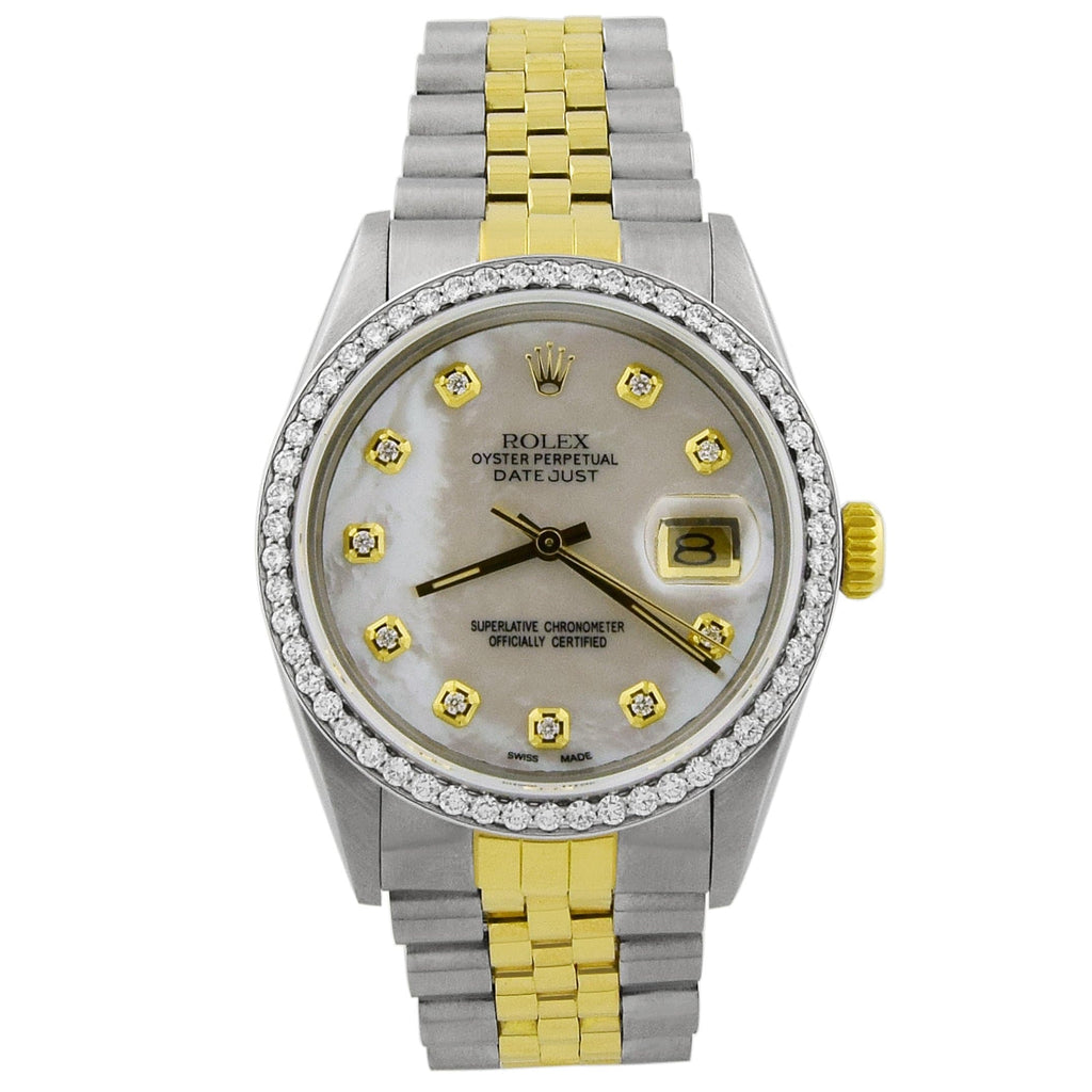 Rolex Unisex Datejust 18KT Yellow Gold & Steel 36mm MOP Diamond - Happy Jewelers Fine Jewelry Lifetime Warranty