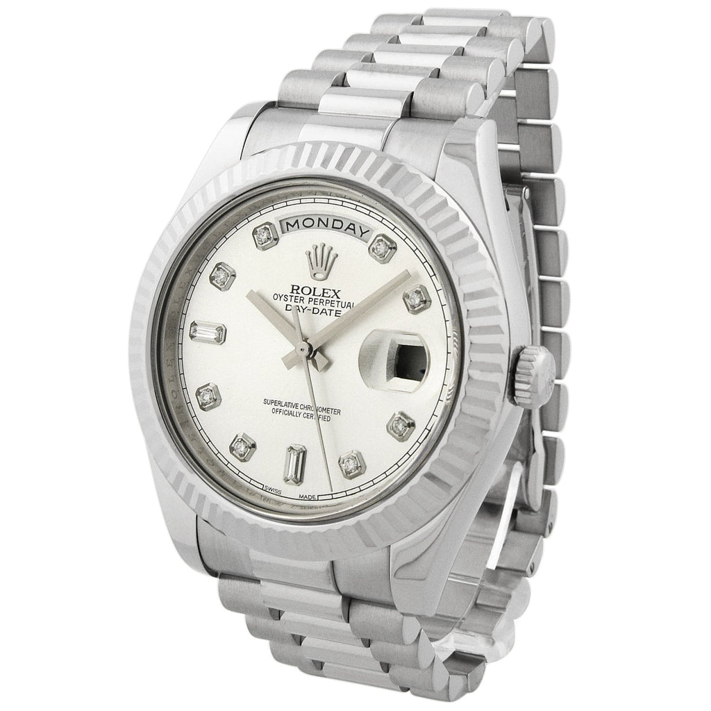 Rolex Mens Day-Date II 18KT White Gold 41mm Silver Diamond Dial Watch - Happy Jewelers