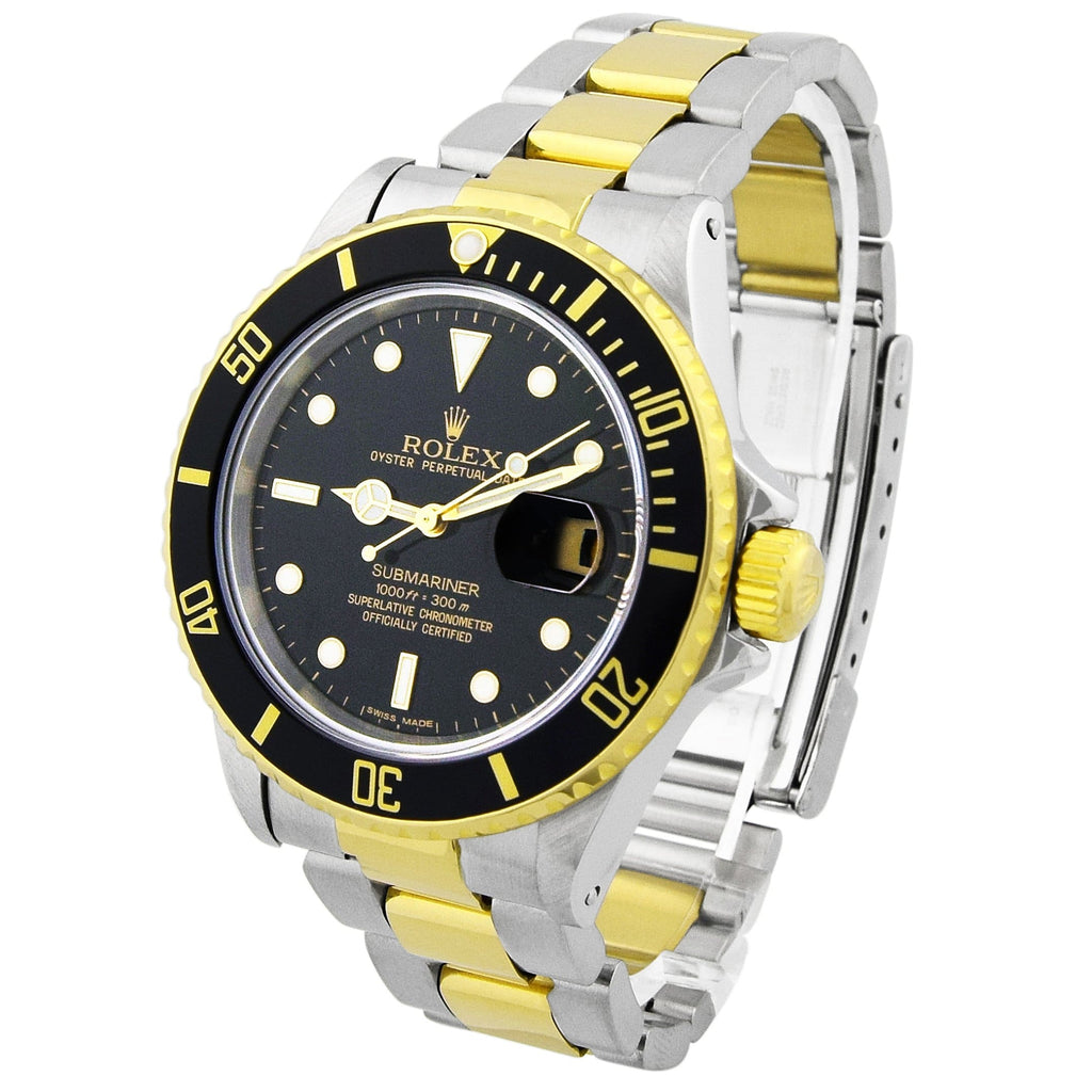 Rolex Mens Submariner 18KT Yellow Gold & Steel 40mm Black Dot Dial Watch Reference #: 16803 - Happy Jewelers Fine Jewelry Lifetime Warranty