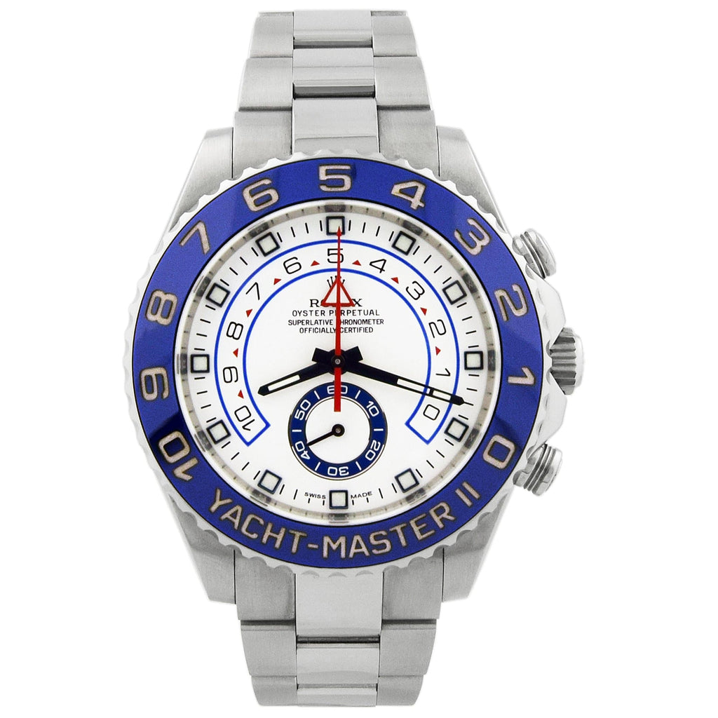 Rolex Mens Yacht-Master II Stainless Steel 44mm White Dial Watch - Happy Jewelers Fine Jewelry Lifetime Warranty
